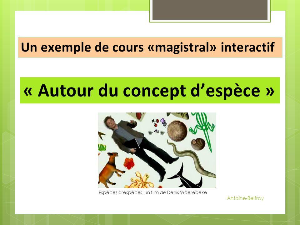 Un exemple de cours «magistral» interactif « Autour du concept d'espèce » Espèces d'espèces, un film de Denis Waerebeke Antoine-Belfroy