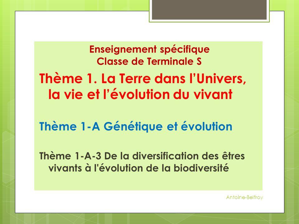 Enseignement spécifique Classe de Terminale S Thème 1. La Terre dans l'Univers, la vie et l'évolution du vivant Thème 1-A Génétique et évolution Thème