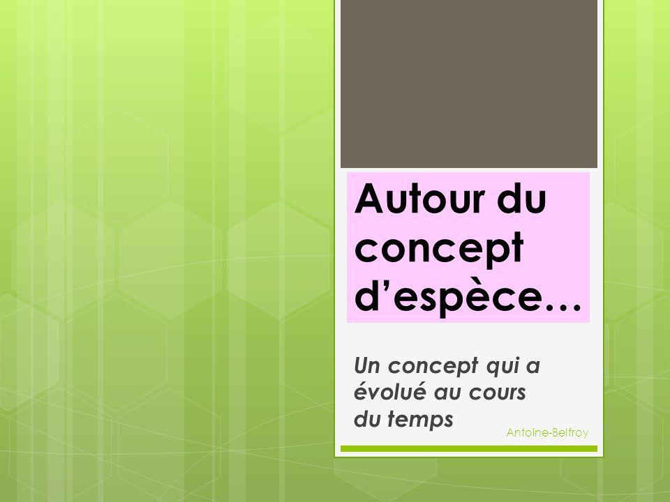 Autour du concept d'espèce… Un concept qui a évolué au cours du temps Antoine-Belfroy