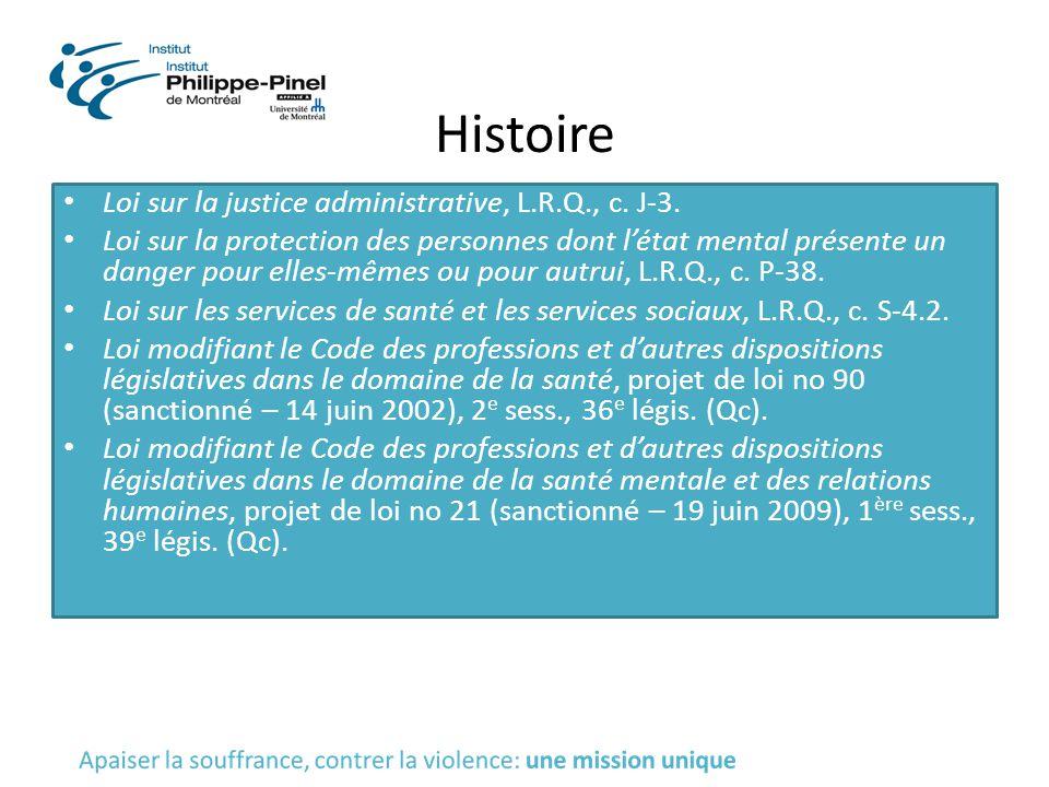 Histoire Loi sur la justice administrative, L.R.Q., c. J-3. Loi sur la protection des personnes dont l'état mental présente un danger pour elles-mêmes