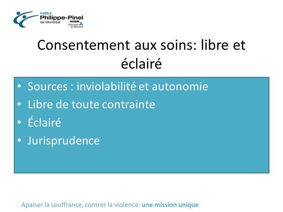 Consentement aux soins: libre et éclairé Sources : inviolabilité et autonomie Libre de toute contrainte Éclairé Jurisprudence