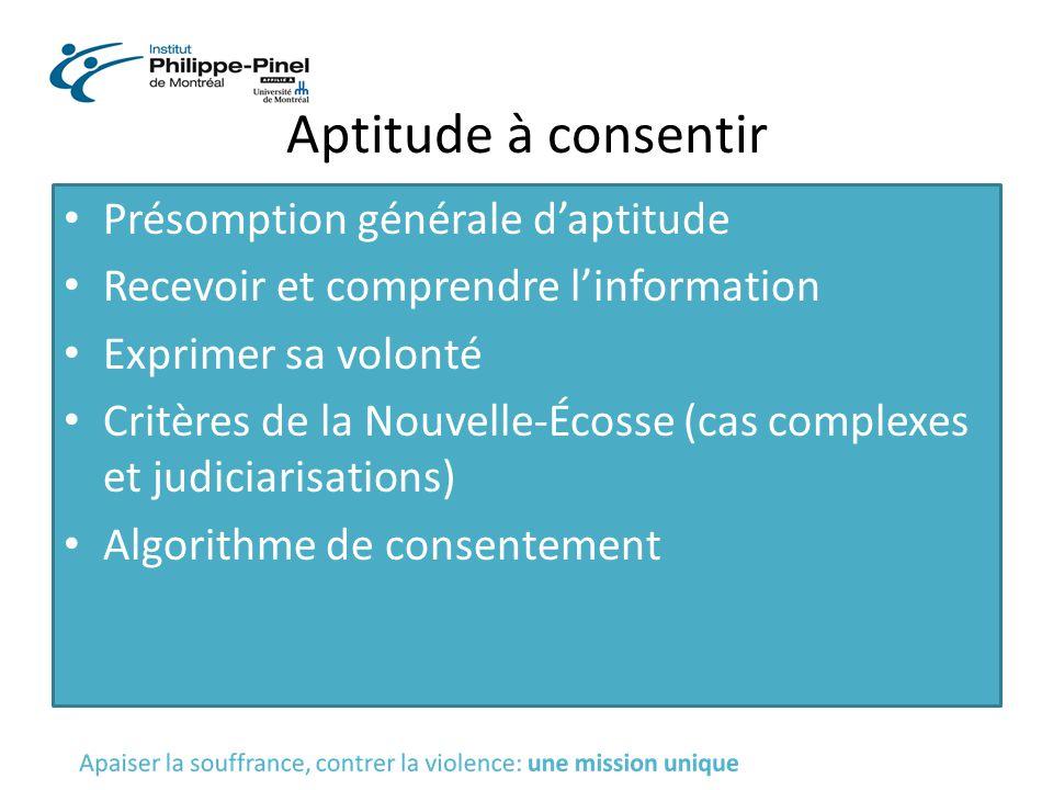 Aptitude à consentir Présomption générale d'aptitude Recevoir et comprendre l'information Exprimer sa volonté Critères de la Nouvelle-Écosse (cas comp