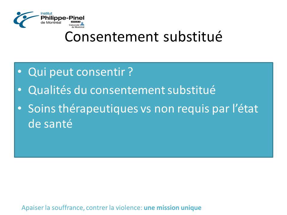 Consentement substitué Qui peut consentir ? Qualités du consentement substitué Soins thérapeutiques vs non requis par l'état de santé