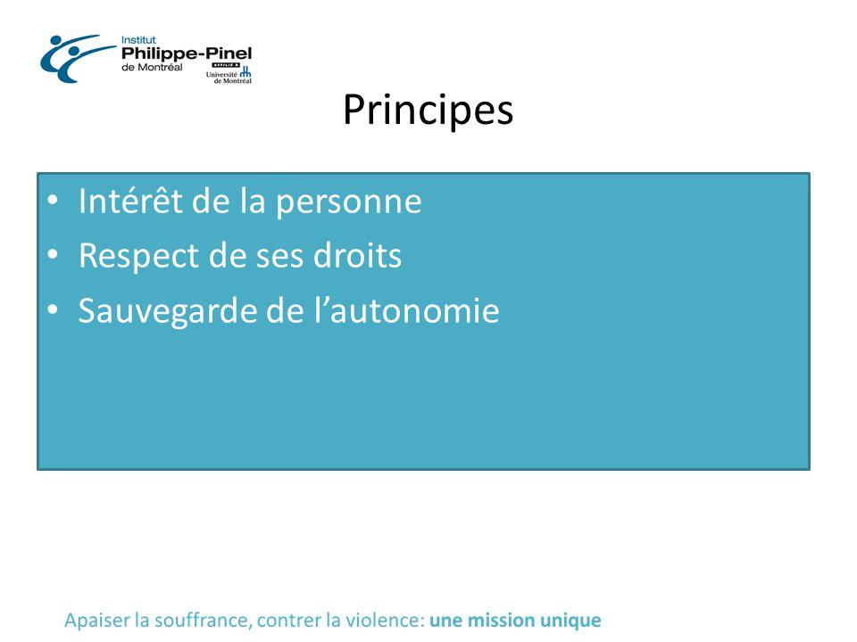 Principes Intérêt de la personne Respect de ses droits Sauvegarde de l'autonomie