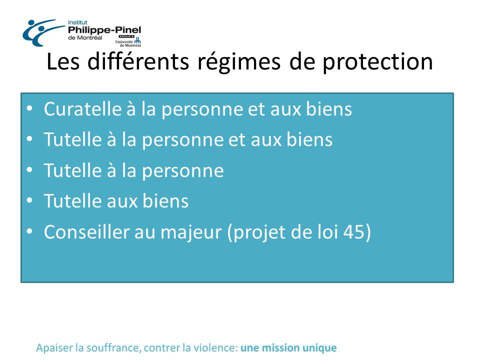 Les différents régimes de protection Curatelle à la personne et aux biens Tutelle à la personne et aux biens Tutelle à la personne Tutelle aux biens C
