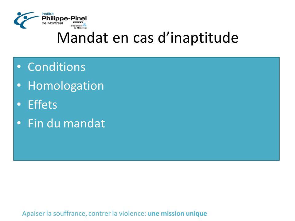 Mandat en cas d'inaptitude Conditions Homologation Effets Fin du mandat