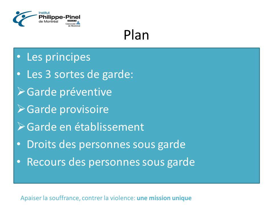 Plan Les principes Les 3 sortes de garde:  Garde préventive  Garde provisoire  Garde en établissement Droits des personnes sous garde Recours des p