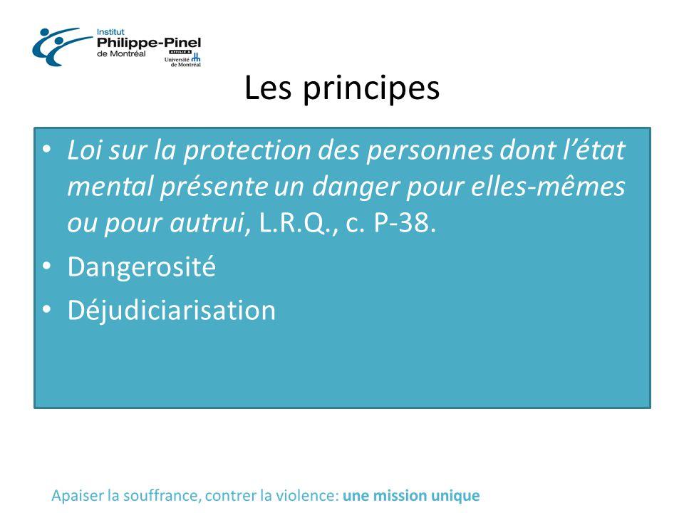 Les principes Loi sur la protection des personnes dont l'état mental présente un danger pour elles-mêmes ou pour autrui, L.R.Q., c. P-38. Dangerosité