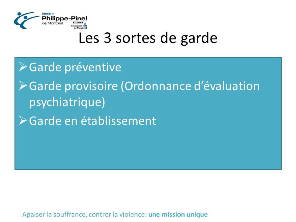 Les 3 sortes de garde  Garde préventive  Garde provisoire (Ordonnance d'évaluation psychiatrique)  Garde en établissement