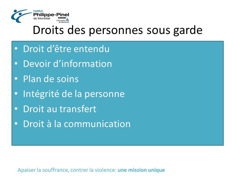 Droits des personnes sous garde Droit d'être entendu Devoir d'information Plan de soins Intégrité de la personne Droit au transfert Droit à la communi