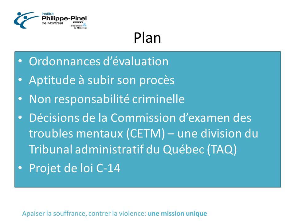 Plan Ordonnances d'évaluation Aptitude à subir son procès Non responsabilité criminelle Décisions de la Commission d'examen des troubles mentaux (CETM