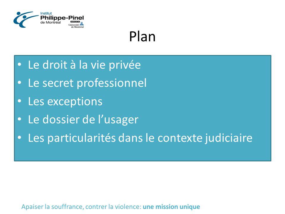 Plan Le droit à la vie privée Le secret professionnel Les exceptions Le dossier de l'usager Les particularités dans le contexte judiciaire