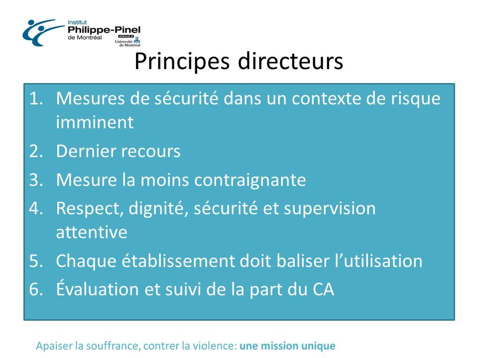 Principes directeurs 1.Mesures de sécurité dans un contexte de risque imminent 2.Dernier recours 3.Mesure la moins contraignante 4.Respect, dignité, s