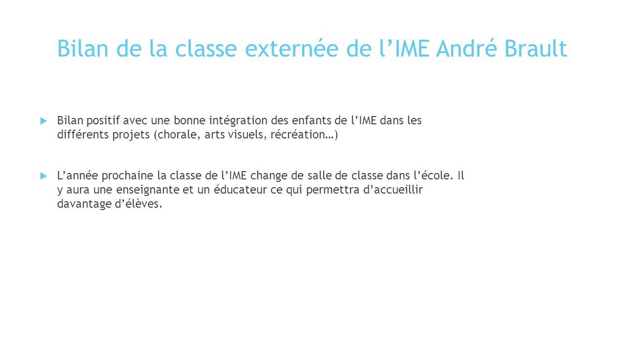 Bilan de la classe externée de l'IME André Brault  Bilan positif avec une bonne intégration des enfants de l'IME dans les différents projets (chorale