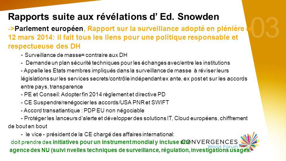 03 Rapports suite aux révélations d' Ed.