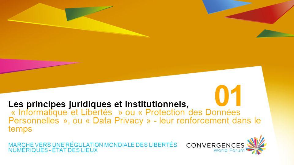 Les principes juridiques et institutionnels, « Informatique et Libertés » ou « Protection des Données Personnelles », ou « Data Privacy » - leur renforcement dans le temps MARCHE VERS UNE RÉGULATION MONDIALE DES LIBERTÉS NUMÉRIQUES - ÉTAT DES LIEUX 01