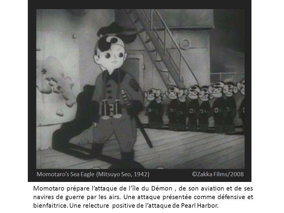 Momotaro prépare l'attaque de l'île du Démon, de son aviation et de ses navires de guerre par les airs. Une attaque présentée comme défensive et bienf