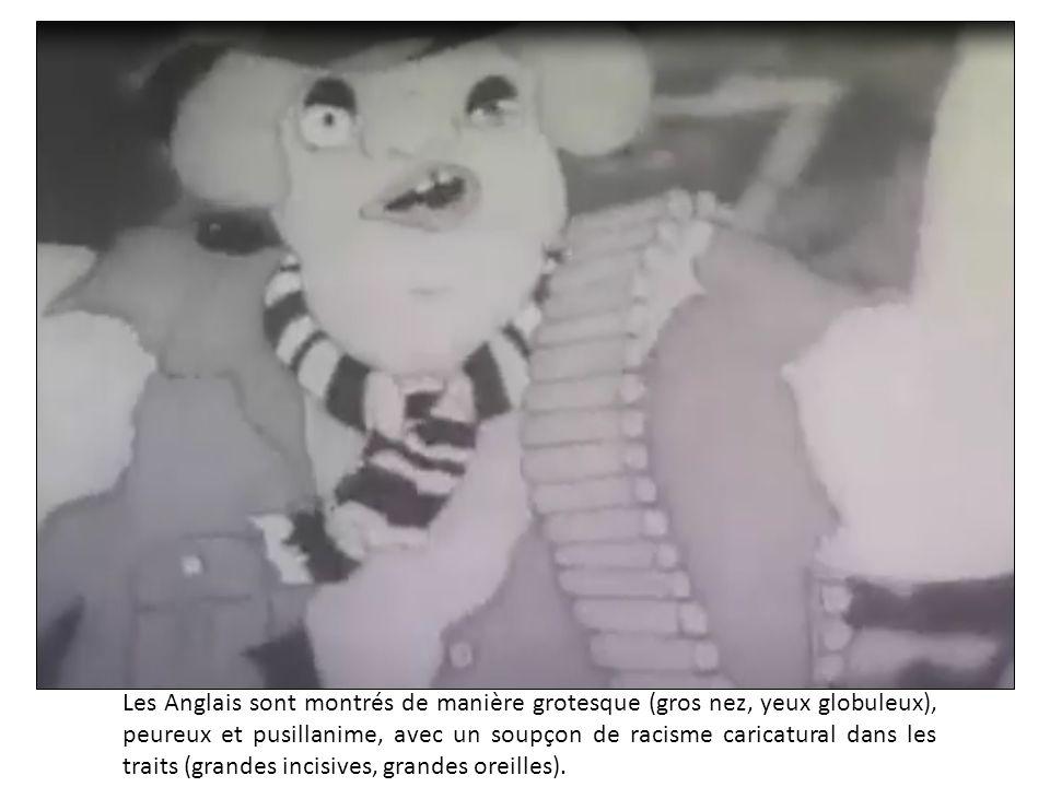 Les Anglais sont montrés de manière grotesque (gros nez, yeux globuleux), peureux et pusillanime, avec un soupçon de racisme caricatural dans les trai
