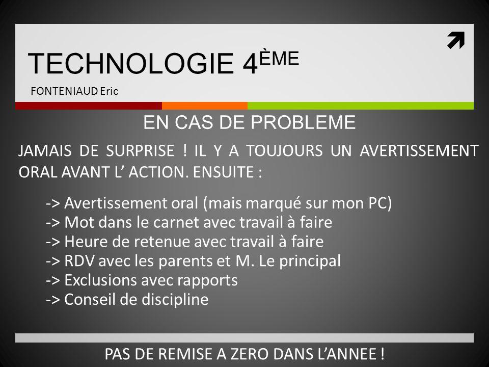  TECHNOLOGIE 4 ÈME FONTENIAUD Eric JAMAIS DE SURPRISE ! IL Y A TOUJOURS UN AVERTISSEMENT ORAL AVANT L' ACTION. ENSUITE : EN CAS DE PROBLEME -> Averti