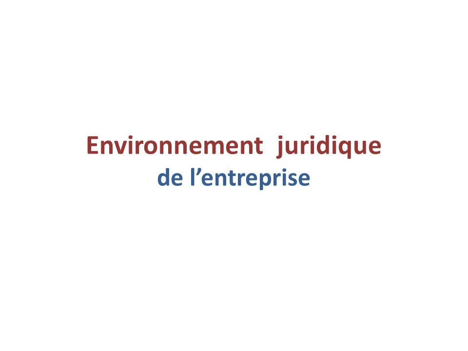 Environnement juridique de l'entreprise