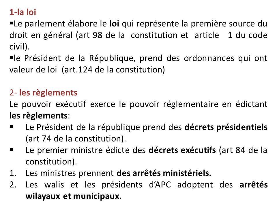 1-la loi  Le parlement élabore le loi qui représente la première source du droit en général (art 98 de la constitution et article 1 du code civil). 