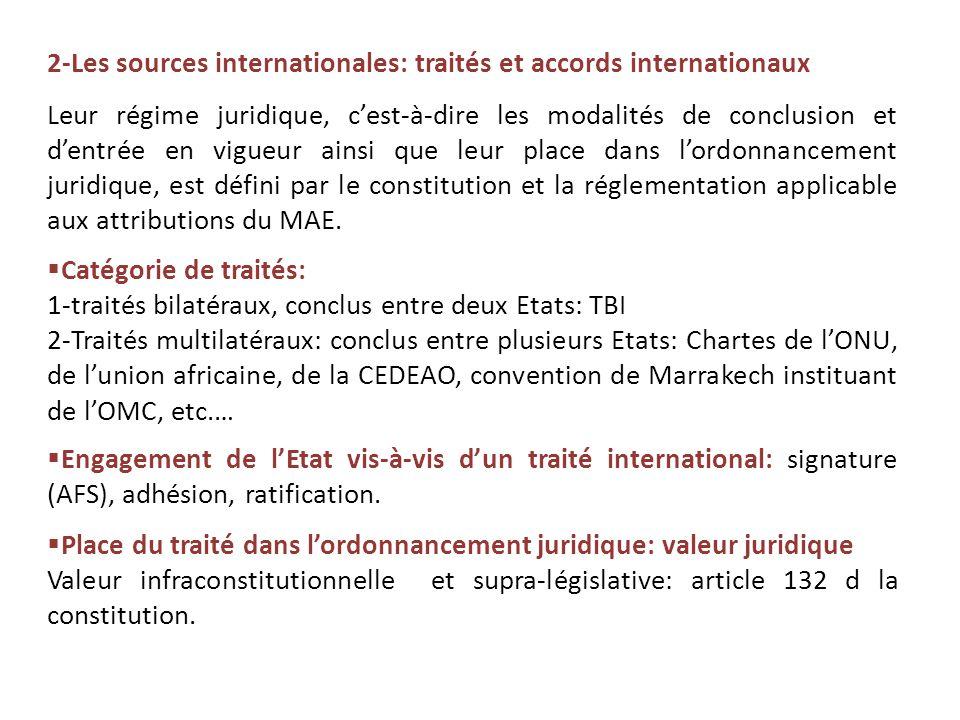 2-Les sources internationales: traités et accords internationaux Leur régime juridique, c'est-à-dire les modalités de conclusion et d'entrée en vigueu