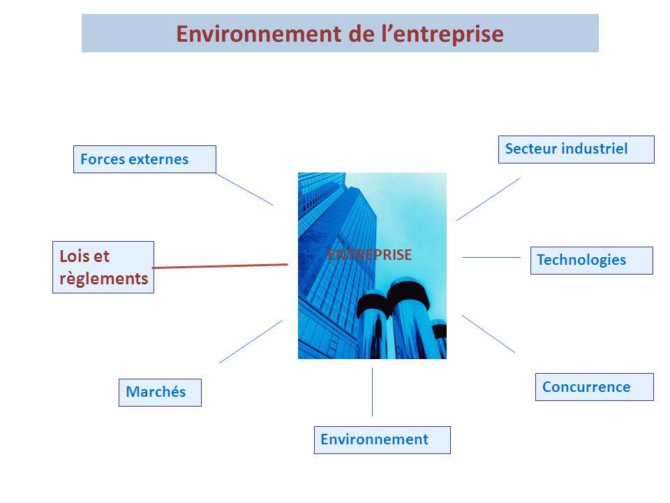 Forces externes Lois et règlements Marchés Concurrence Technologies Secteur industriel Environnement ENTREPRISE Environnement de l'entreprise