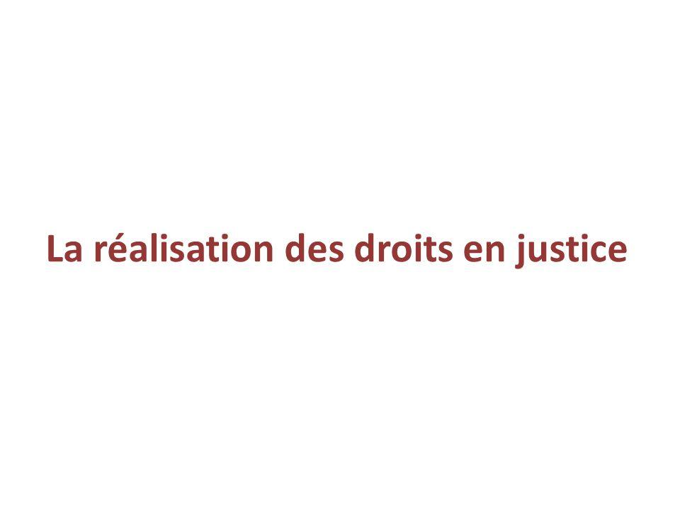 La réalisation des droits en justice