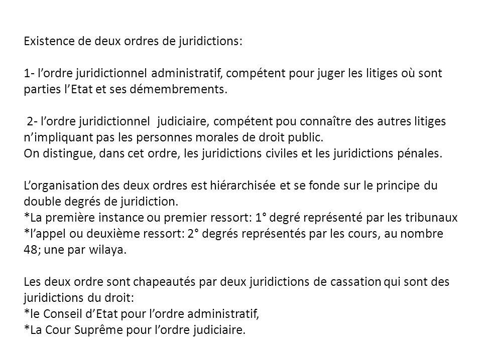 Existence de deux ordres de juridictions: 1- l'ordre juridictionnel administratif, compétent pour juger les litiges où sont parties l'Etat et ses déme