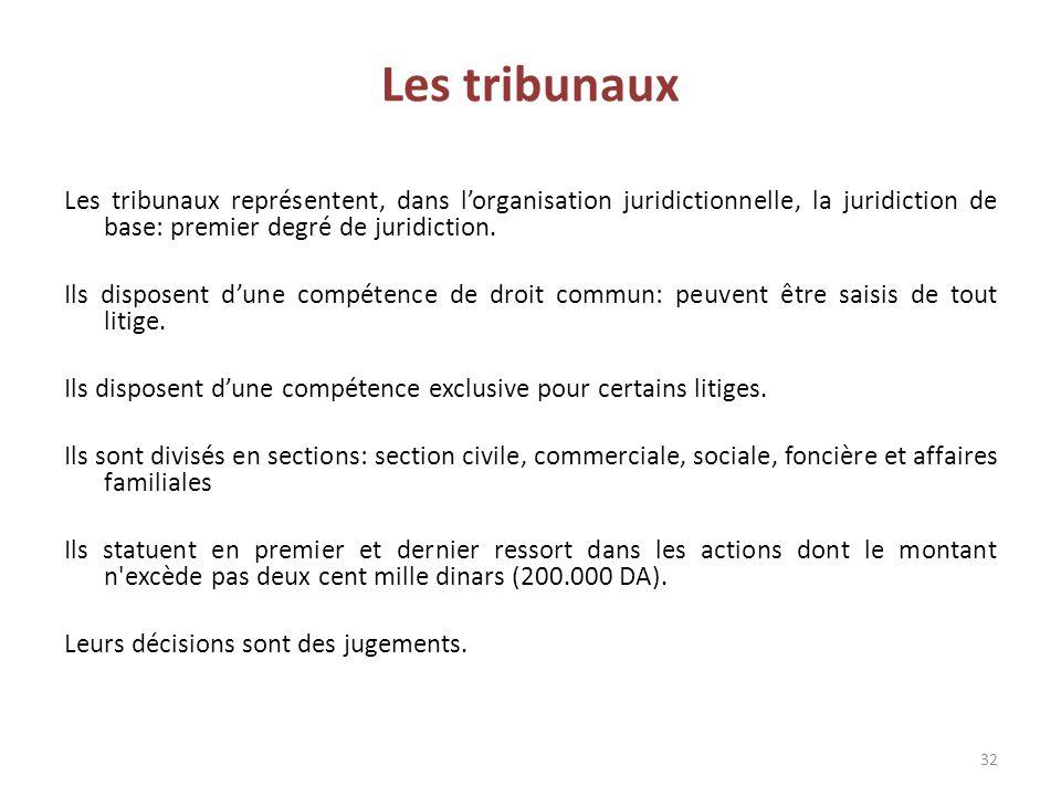 Les tribunaux représentent, dans l'organisation juridictionnelle, la juridiction de base: premier degré de juridiction. Ils disposent d'une compétence