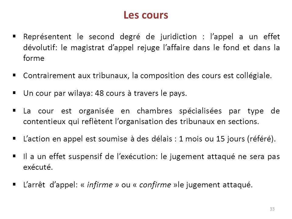 33 Les cours  Représentent le second degré de juridiction : l'appel a un effet dévolutif: le magistrat d'appel rejuge l'affaire dans le fond et dans la forme  Contrairement aux tribunaux, la composition des cours est collégiale.
