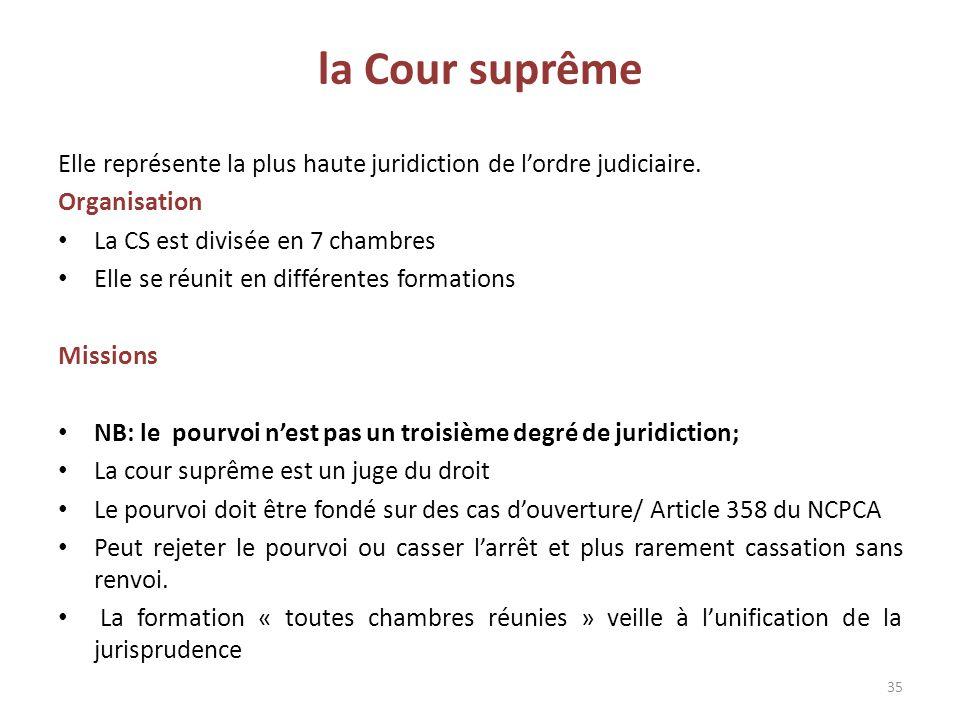 la Cour suprême Elle représente la plus haute juridiction de l'ordre judiciaire. Organisation La CS est divisée en 7 chambres Elle se réunit en différ