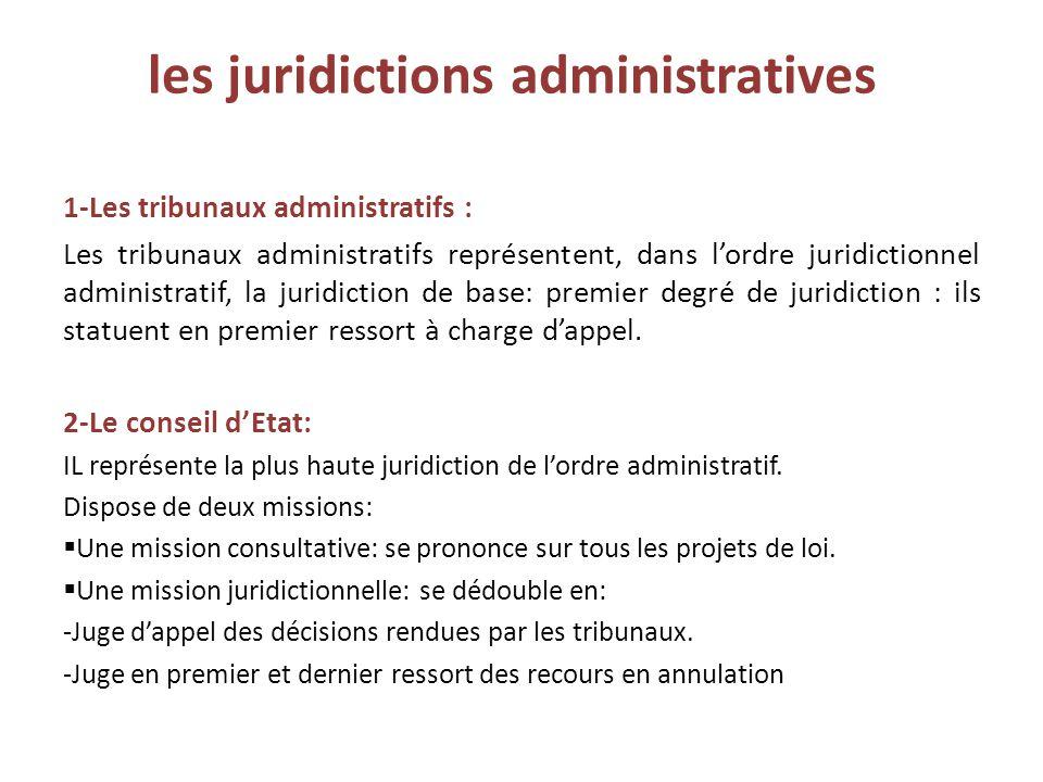 les juridictions administratives 1-Les tribunaux administratifs : Les tribunaux administratifs représentent, dans l'ordre juridictionnel administratif, la juridiction de base: premier degré de juridiction : ils statuent en premier ressort à charge d'appel.