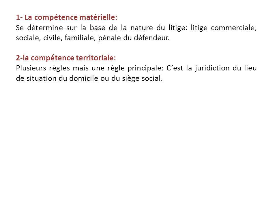 1- La compétence matérielle: Se détermine sur la base de la nature du litige: litige commerciale, sociale, civile, familiale, pénale du défendeur.