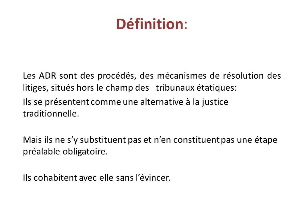 Définition: Les ADR sont des procédés, des mécanismes de résolution des litiges, situés hors le champ des tribunaux étatiques: Ils se présentent comme une alternative à la justice traditionnelle.