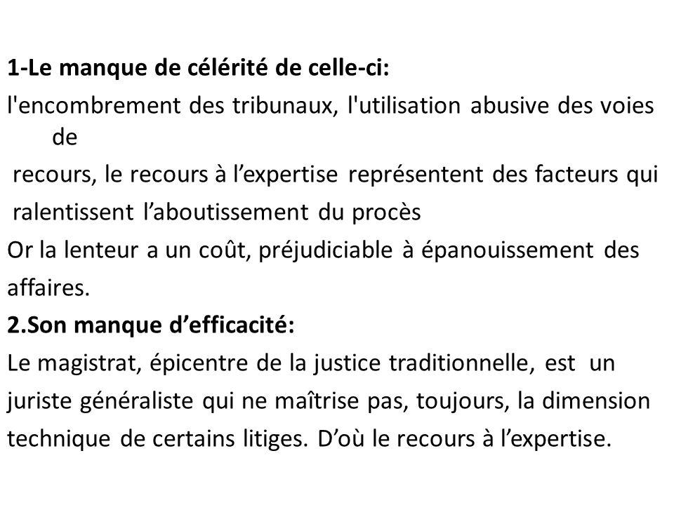 1-Le manque de célérité de celle-ci: l'encombrement des tribunaux, l'utilisation abusive des voies de recours, le recours à l'expertise représentent d