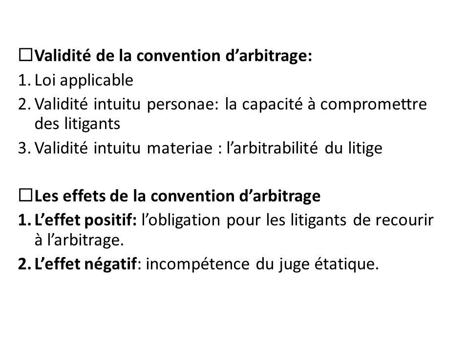  Validité de la convention d'arbitrage: 1.Loi applicable 2.Validité intuitu personae: la capacité à compromettre des litigants 3.Validité intuitu mat