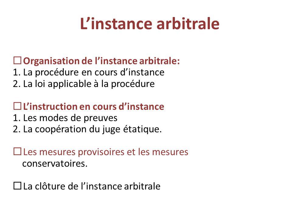 L'instance arbitrale  Organisation de l'instance arbitrale: 1.La procédure en cours d'instance 2.La loi applicable à la procédure  L'instruction en
