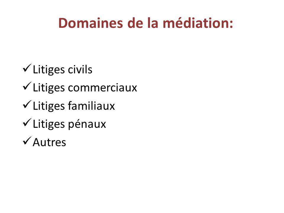 Domaines de la médiation: Litiges civils Litiges commerciaux Litiges familiaux Litiges pénaux Autres