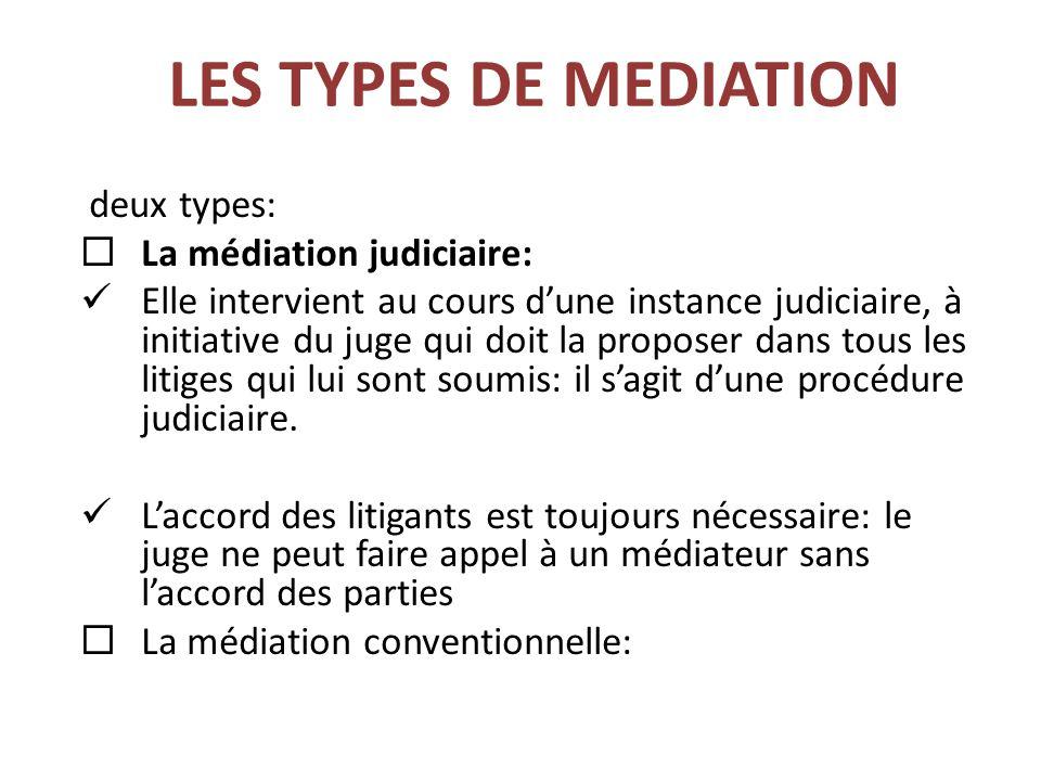 LES TYPES DE MEDIATION deux types:  La médiation judiciaire: Elle intervient au cours d'une instance judiciaire, à initiative du juge qui doit la proposer dans tous les litiges qui lui sont soumis: il s'agit d'une procédure judiciaire.