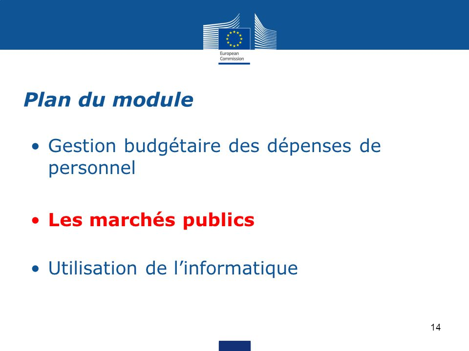 Gestion budgétaire des dépenses de personnel Les marchés publics Utilisation de l'informatique Plan du module 14