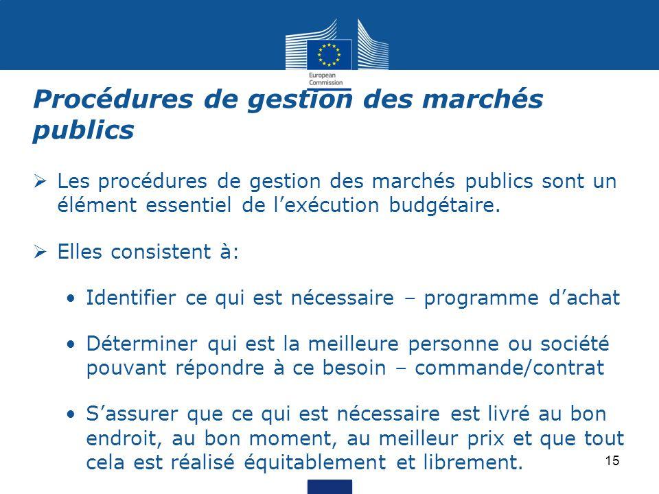  Les procédures de gestion des marchés publics sont un élément essentiel de l'exécution budgétaire.  Elles consistent à: Identifier ce qui est néces