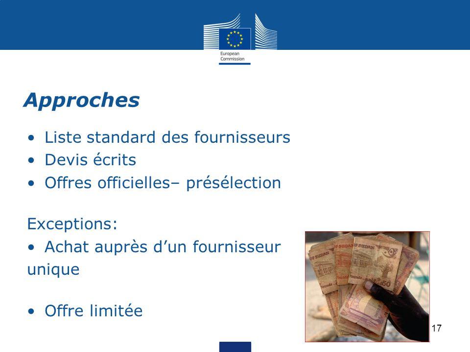 Liste standard des fournisseurs Devis écrits Offres officielles– présélection Exceptions: Achat auprès d'un fournisseur unique Offre limitée Approches 17