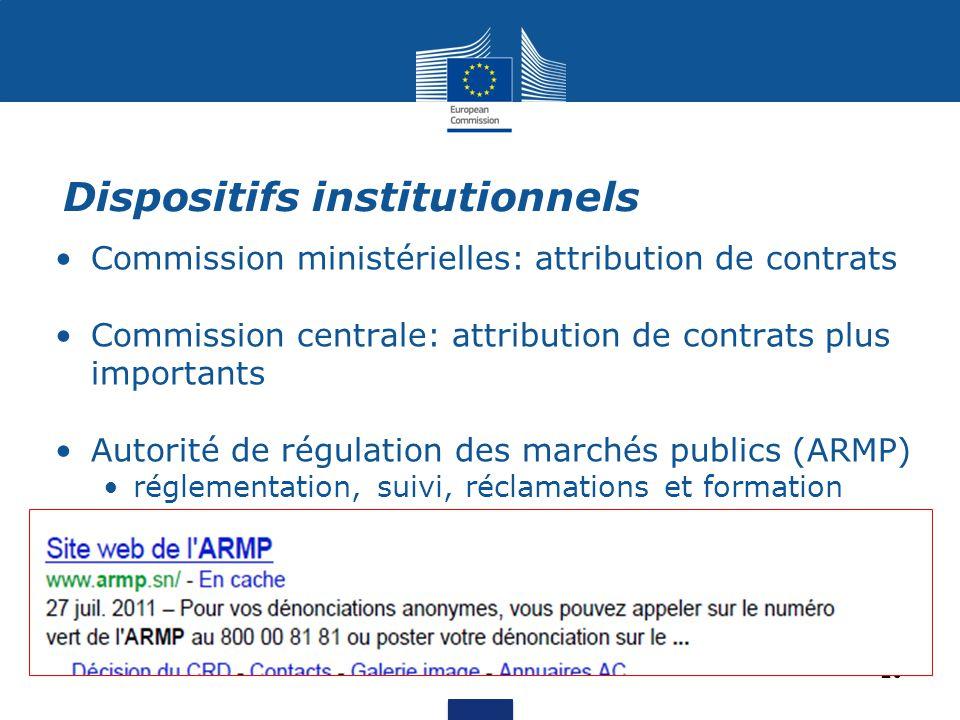 Commission ministérielles: attribution de contrats Commission centrale: attribution de contrats plus importants Autorité de régulation des marchés pub