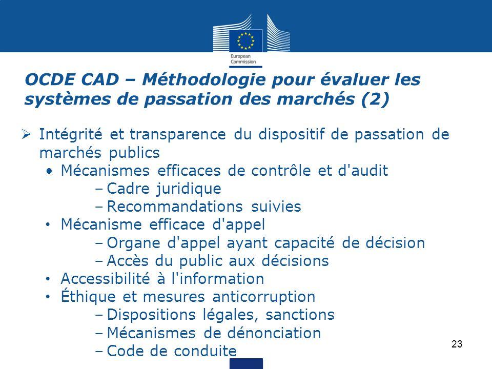  Intégrité et transparence du dispositif de passation de marchés publics Mécanismes efficaces de contrôle et d'audit –Cadre juridique –Recommandation