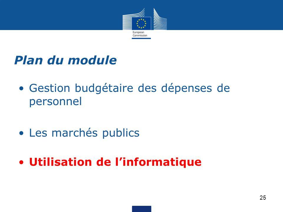 Gestion budgétaire des dépenses de personnel Les marchés publics Utilisation de l'informatique Plan du module 25