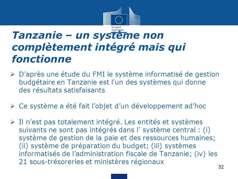  D'après une étude du FMI le système informatisé de gestion budgétaire en Tanzanie est l'un des systèmes qui donne des résultats satisfaisants  Ce système a été fait l'objet d'un développement ad'hoc  Il n'est pas totalement intégré.