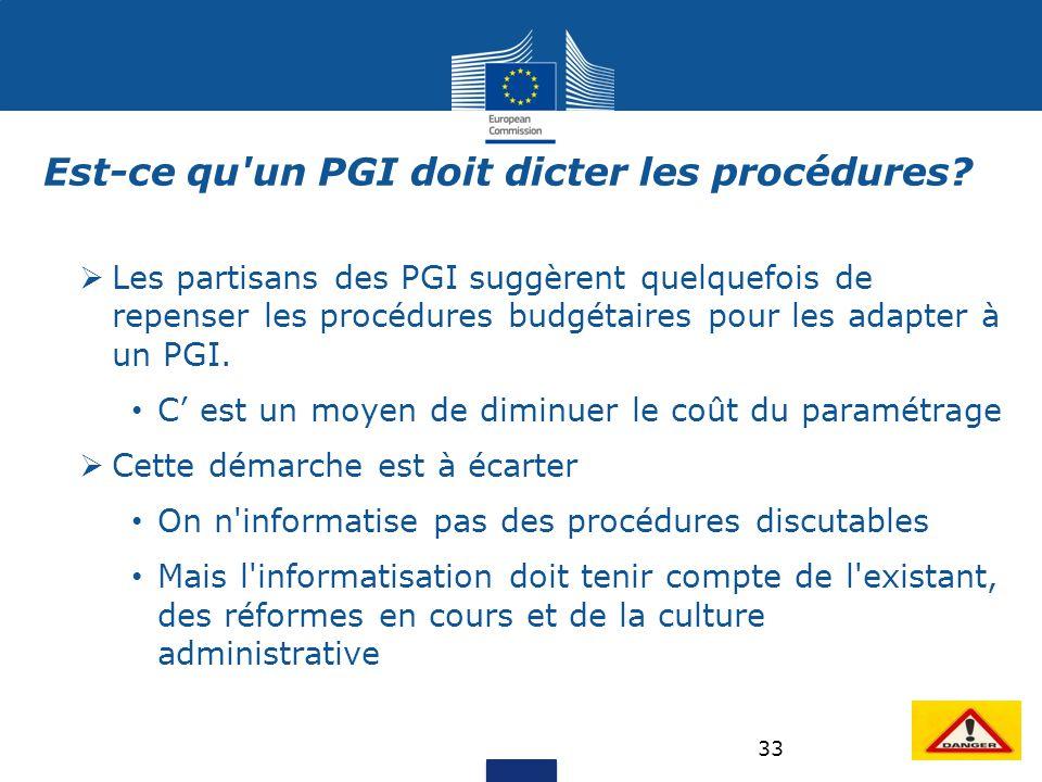 33 Est-ce qu'un PGI doit dicter les procédures?  Les partisans des PGI suggèrent quelquefois de repenser les procédures budgétaires pour les adapter