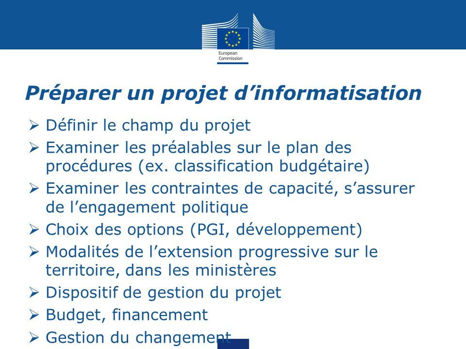 Préparer un projet d'informatisation  Définir le champ du projet  Examiner les préalables sur le plan des procédures (ex. classification budgétaire)