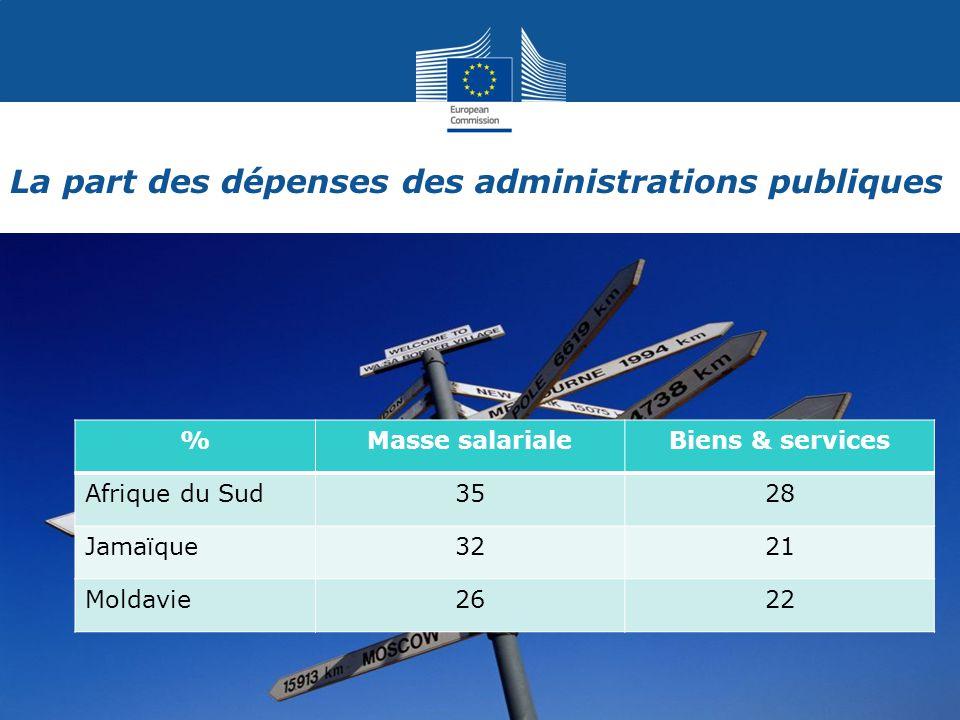 La part des dépenses des administrations publiques 4 %Masse salarialeBiens & services Afrique du Sud3528 Jamaïque3221 Moldavie2622